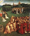 Jan van Eyck The Ghent Altarpiece Adoration of the Lamb [detail right] painting